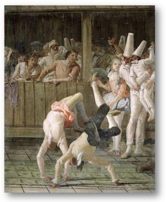 Pulcinella en de acrobaten - Tiepolo 1793