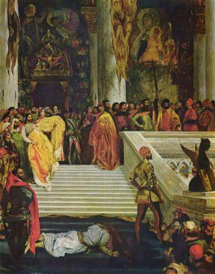 onthoofding van Marino Faliero onderaan de trap van het dogepaleis
