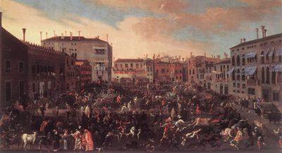 Joseph Heintz - stierengevecht op Campo San Polo circa 1625 (Museo Correr, Venetië)