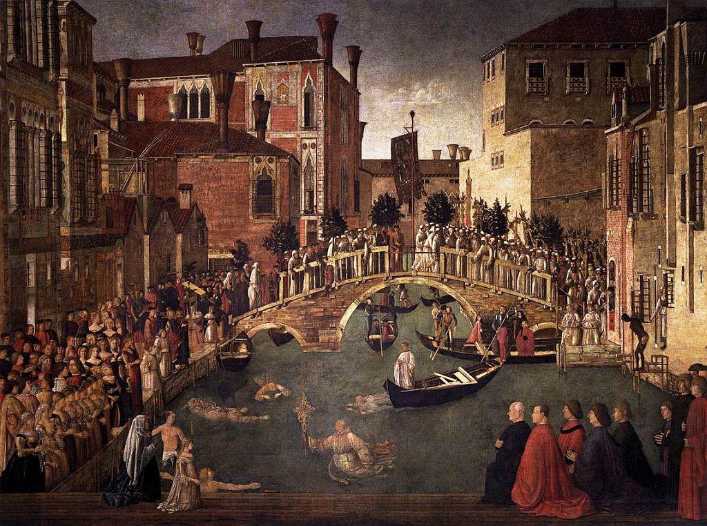 schilderij met Caterina Cornaro: Gentille Bellini - Miracolo_della_Croce_caduta_nel_canale_di_San_Lorenzo Cornaro