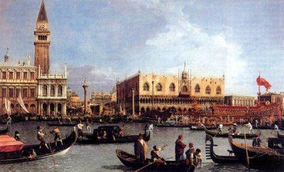 terugkeer van de Bucintoro tijdens Festa della Sensa - schilderij door Canaletto (hangt in Windsor Castle, UK als onderdeel van de koninklijke collectie)