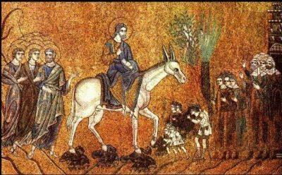 """ca 1100-1200 mosaic 'Entry of Jesus into Jerusalem"""" (San Marco, Venice)"""